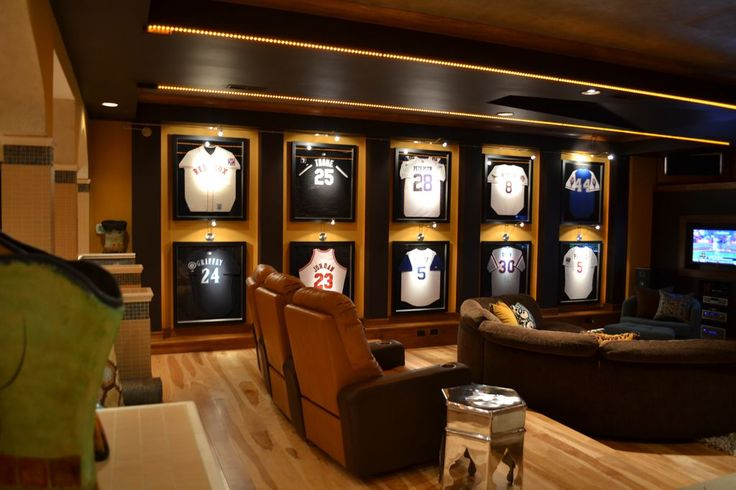 Contemporary Man Cave with Columns, Football / Baseball Jersey Display Case Shadow Box Frame with UV Protection Door & Hanger