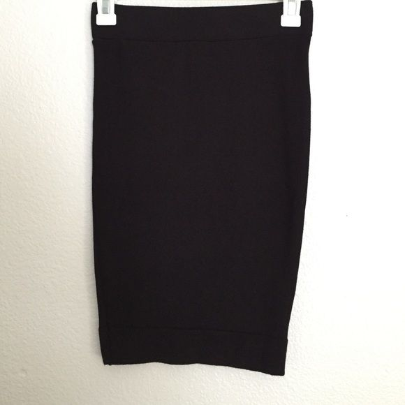 Black tube skirt Black tube skirt with band on top and bottom size small substantial material 45% rayon 45% nylon 10% polyester Skirts