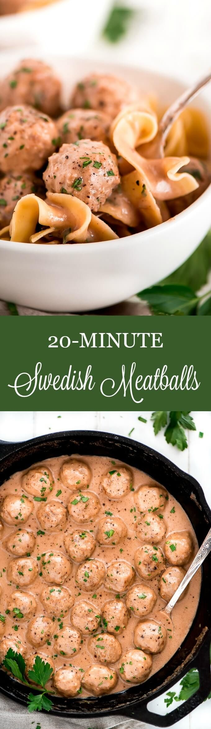 These 20-Minute Swedish Meatballs are the perfect easy and effortless dish for a quick meal for the family or an at-home-dinner date. #meatballs #easydinner #FarmRich @FarmRichSnacks