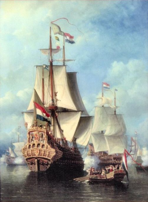 Überfall im Medway/Schlacht von Chatham (9-14.July old style protestant england Julian calendar=19-24.July Dutch Gregorian new calendar)/Admiral de RUYTER+ Cornelis de WITT  Mayor of Dordrecht and other Admirals go on board of the Dutch Flagship Zeven Provincien in June 1667/	painting by E.Koster 1857