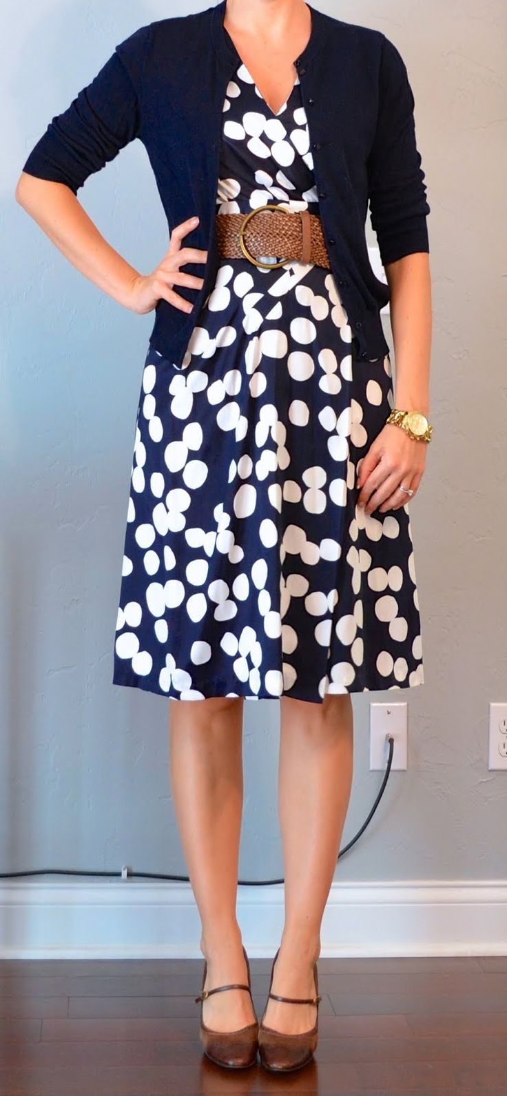navy & white polka-dot dress, navy cardigan, wide woven belt