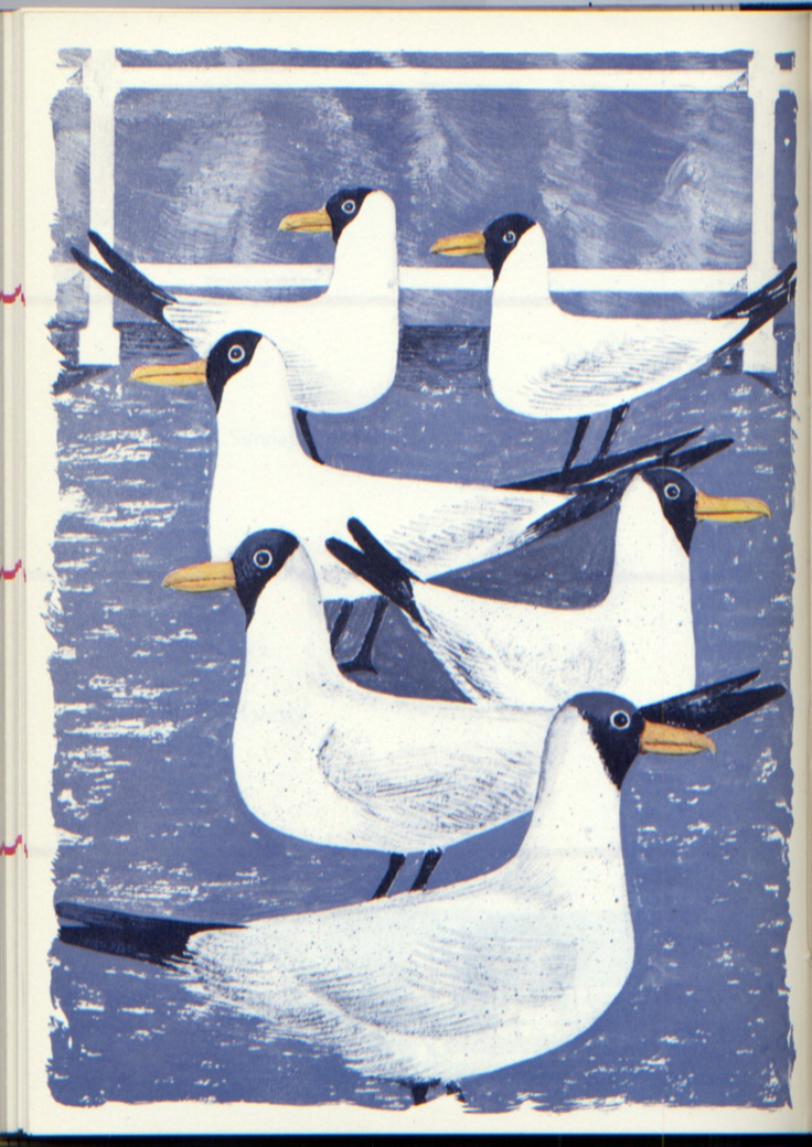 """Seagulls"" by Robert Tavener from the Kynoch Press Notebook and Diary for 1958 (lithograph)"