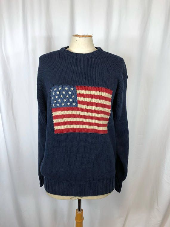 67da70eb049b Oversized Sweater Vintage Ralph Lauren Polo American Flag Knit Jumper Long  Sleeve Unisex Mans Womens Navy Blue Crew Neck Sweater Pullover M