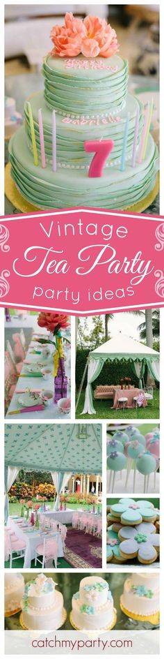 You will not want to miss this incredible Vintage Tea Party! The garden tent is absolutely gorgeous! See more party ideas and share yours at CatchMyParty.com