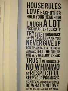 vinyl wall cling house rules front