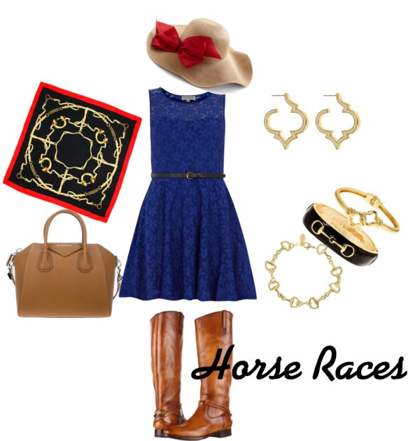 """Horse Races"" by fornashinc on Polyvore.    Going to the races this spring?! Accessorize with the new Fornash Equestrian Scarf. Stack bracelets with the Horse Bit bangle and Bracelet. Also add the Signature enamel earrings for a chic look."