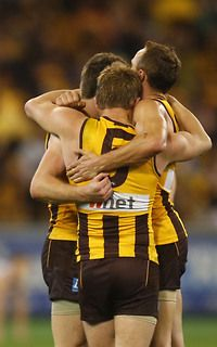 Hawks players celebrate on the final siren of the 2013 1st Preliminary Final match between the Hawthorn Hawks and the Geelong Cats at the MCG.
