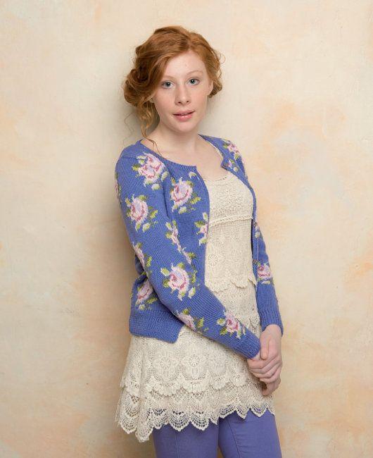 Flower Cardigan--free knit pattern by Martin Storey in Rowan Siena