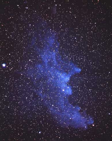 """The Witch Head Nebula. It glows from light reflected from bright supergiant Rigel - Orion's left foot!  Although Rigel is blue, the nebula is blue because the dust scatters blue light more efficiently than the longer wavelengths. (Image: George Greany)  ©Mona Evans, """"Nebulae"""" http://www.bellaonline.com/articles/art43407.asp"""
