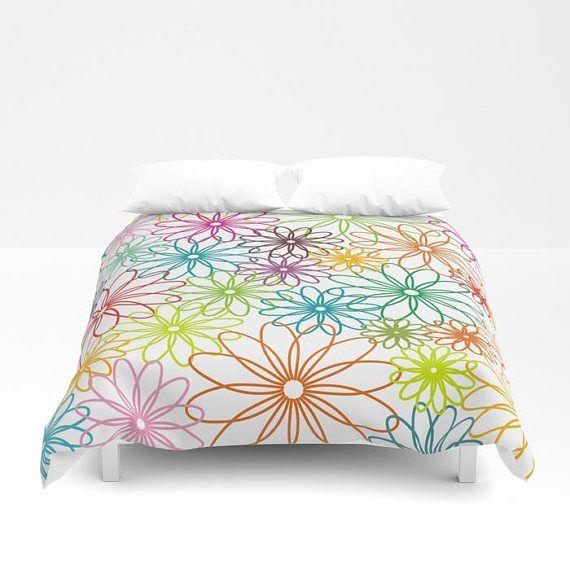 Colorful flowers bedding,rainbow bedding set,bedding comforters,bedding set full king queen size,modern bedroom decor,unique duvet cover