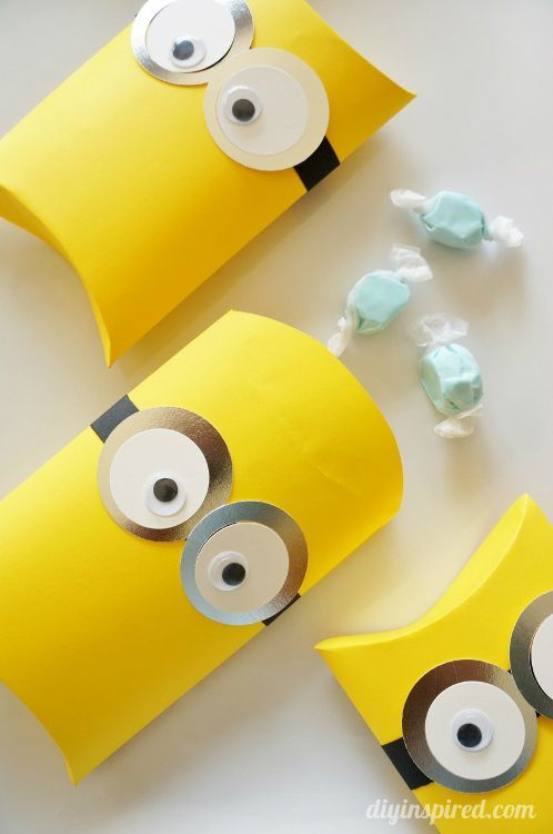 DIY Minions Party Ideas including these cute pillow box favors!
