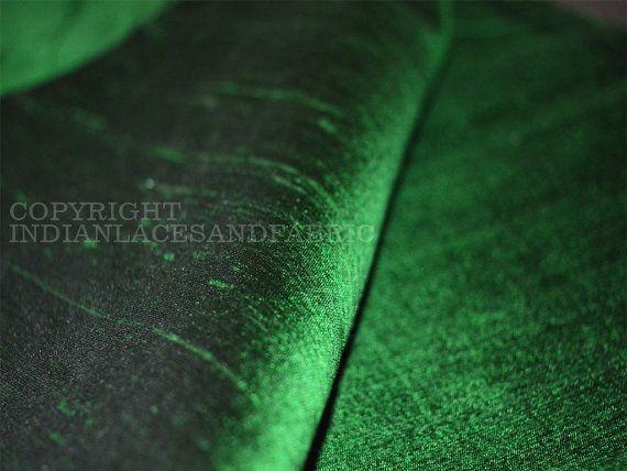 Green Iridescent Pure Dupioni Silk fabric by Indianlacesandfabric