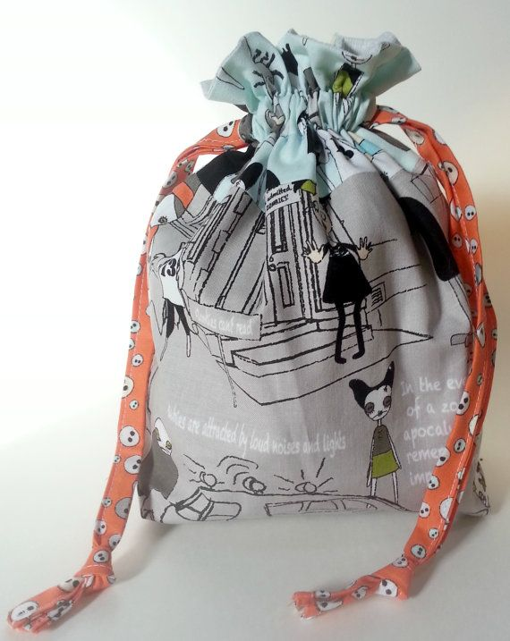 Check out this item in my Etsy shop https://www.etsy.com/listing/209266282/zombie-drawstring-bag-book-toys-dice