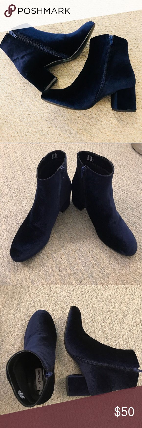 """Steve Madden Velvet Booties Navy velvet booties, NWOT, true size 8. 2"""" heel height. I purchased on Posh and they are new. They are so cute but I have small ankles with big calves and they don't look good on my legs. Perfect for the holidays and after, dress up or down. Steve Madden Shoes Ankle Boots & Booties"""