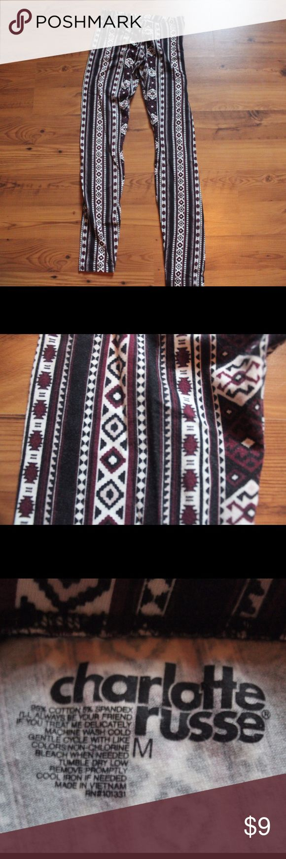 "WORN ONCE Charlotte Russe Aztec Print Leggings 95% cotton 5% spandex. Worn once Charlotte Russe Aztec print leggings. Size medium. 27"" inseam. 🚫SMOKE FREE HOME🚫 ☄️Offers welcome and encouraged!☄️ Charlotte Russe Pants Leggings"