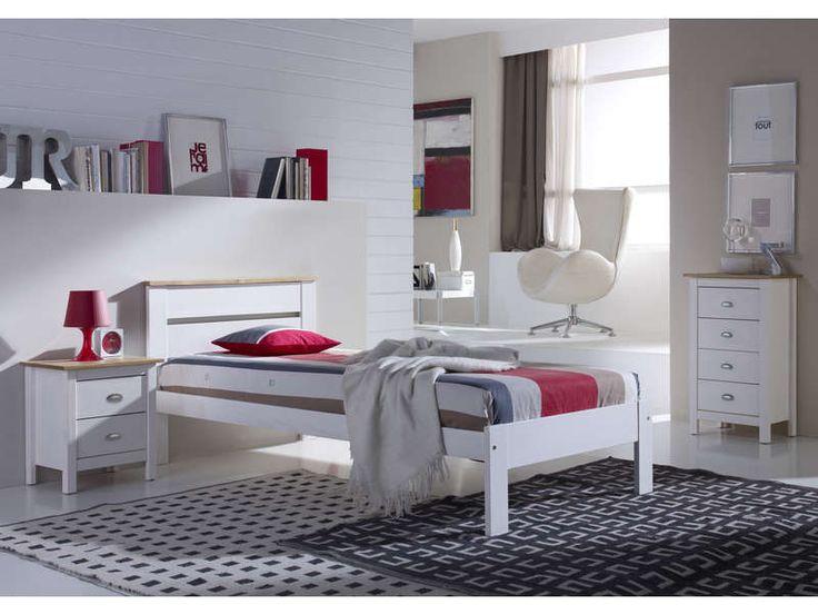 Lit 90x190 cm AGATA coloris blanc et chêne - pas cher ? C'est sur Conforama.fr - large choix, prix discount et des offres exclusives Lit enfant sur Conforama.fr