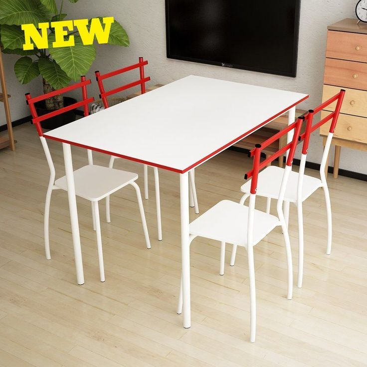 5pc Dining Set Table Chairs Metal Bistro Kitchen Room Furniture 4 Person Modern Home Patio