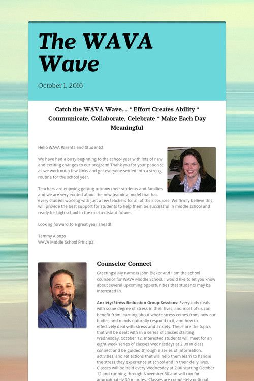 October 2016 MS #WAVA Wave Newsletter