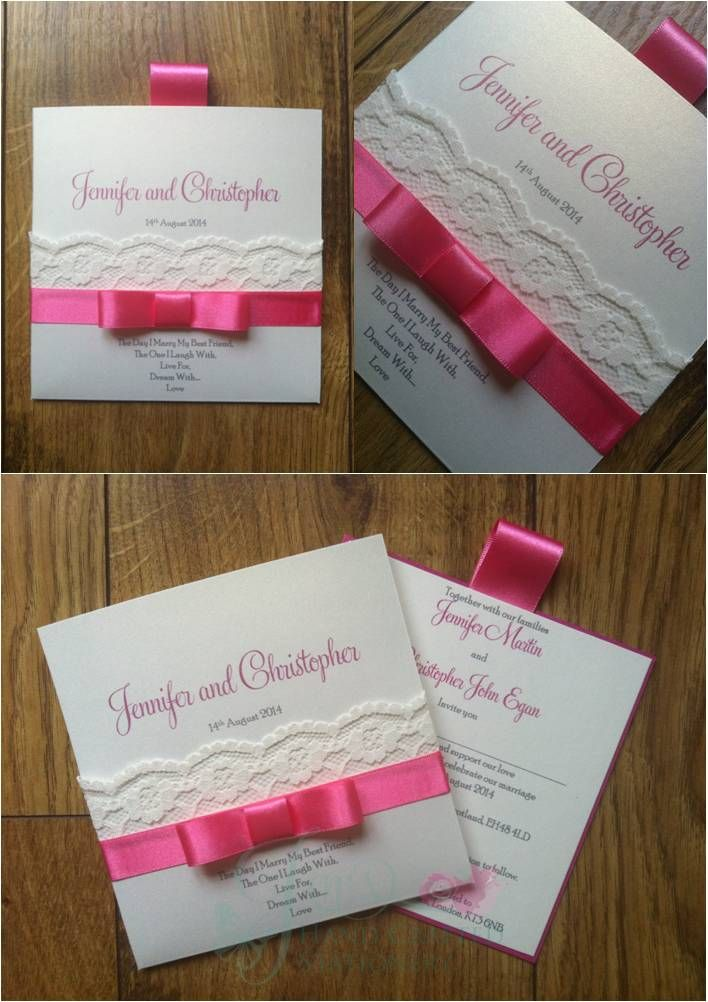 african wedding invitations uk%0A Sugar Pink Wallet Wedding Invitation with lace  www jenshandcraftedstationery co uk www