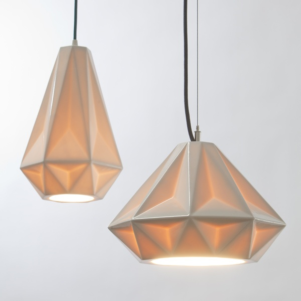 """Aspect"" pendant lamps made from porcelain. Designed by Brian Schmitt, 2012"