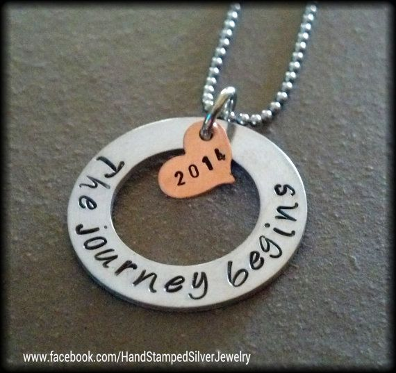 Hand Stamped Personalized Graduation Necklace 2014 Graduate New Journey High School College Grad