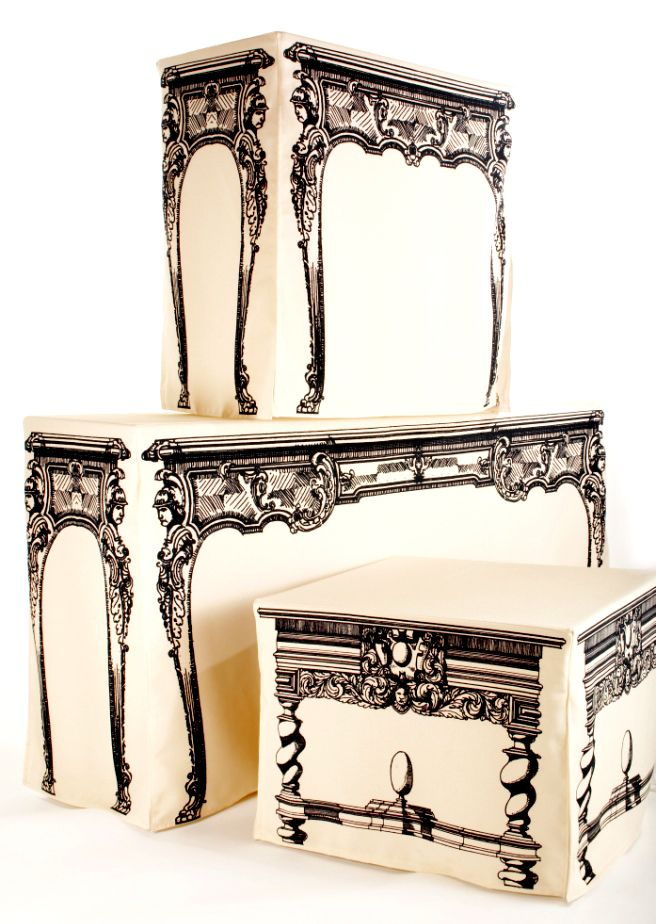 """What fun! Interior designer Mark Cutler, whose latest design includes the cheekily named Tableaux Cloths, which he designed """"to fill a need I had for a low cost, yet stylish solution for a covered table."""""""