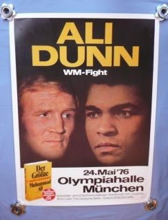 Exceptionally rare on-site poster from Olympiahalle, Munich, where Muhammad Ali met Richard Dunn for the Heavyweight Championship of the World on 24th May 1976. Ali KO'd Dunn in the fifth round to retain his titles. The poster has been professionally cleaned and linen backed.  All acidity has been removed during the process. There has been some restoration to a few places, including to questionable signatures of the two fighters which were added by an unknown hand. Measures approximately…