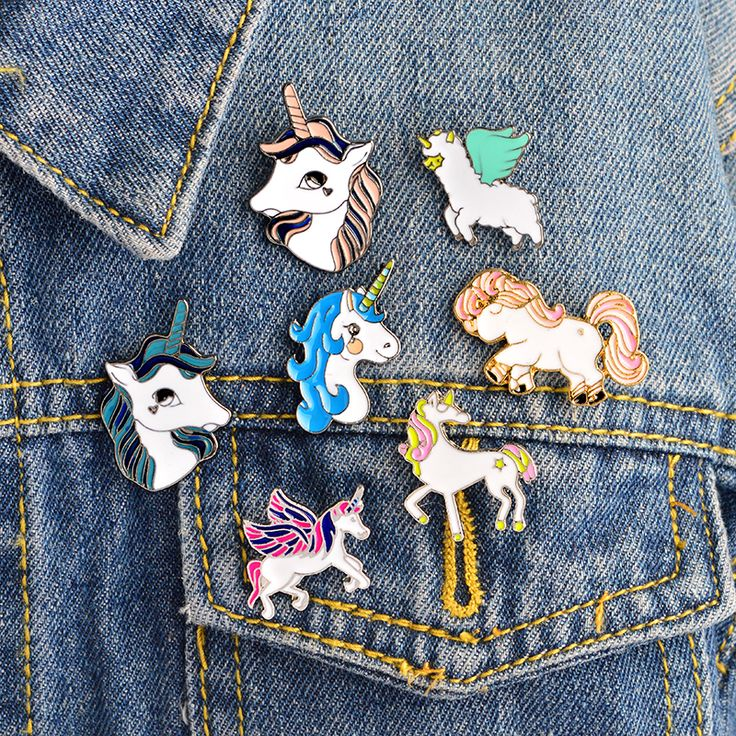 Cartoon Pegasus unicorn Alpaca Compilation Brooch Button Pins Denim Jacket Pin Badge Animal Jewelry Gift Surprise for Kids