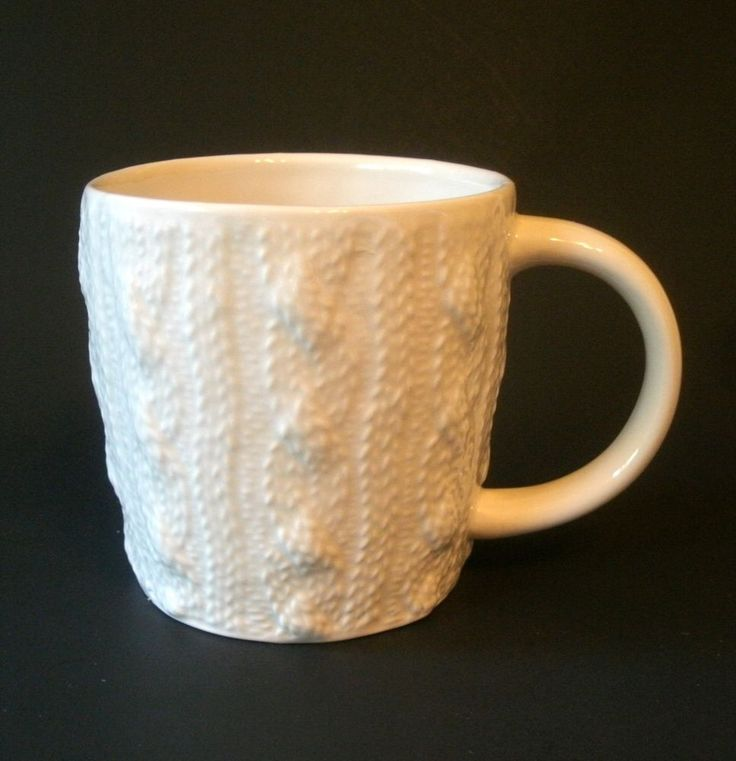 Starbucks Coffee Mug Cup Cable Knit Sweater Textured Embossed 2008 12 fl oz #Starbucks