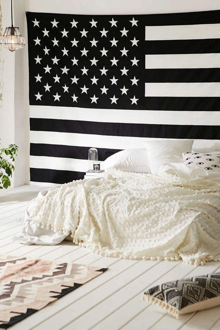 American Flag Tapestry.. Check out the fun tapestries if you decide you want to keep your bedding real simple. This will help add some real vitality and glamour to your room.