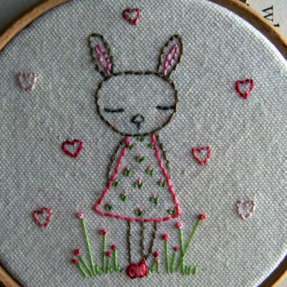 Bunny embroidery pattern pdf hand a and