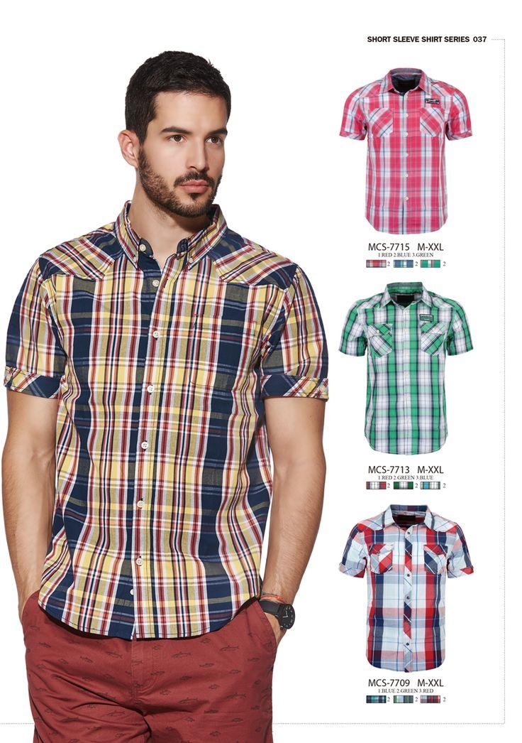 #formen #clothing #fashion #glostory #short #sleeve #shirts #grey #denim #tropical #beachwear #festival #red #checkered