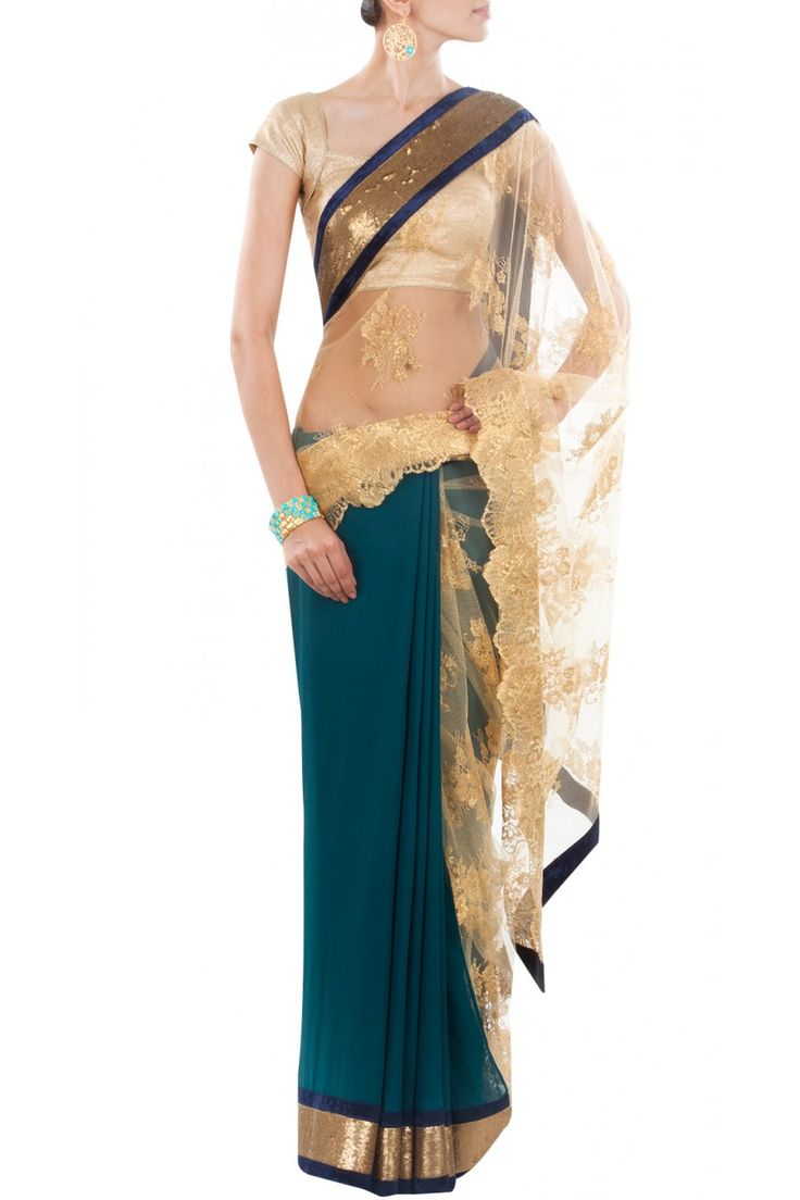 Teal and gold chantilly lace sari available only at Pernia's Pop-Up Shop.