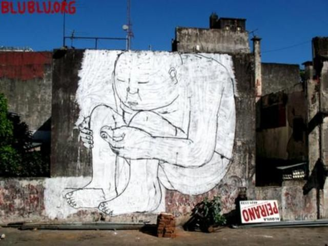 MUTO a wall-painted animation by BLU by blu. The new short film by Blu