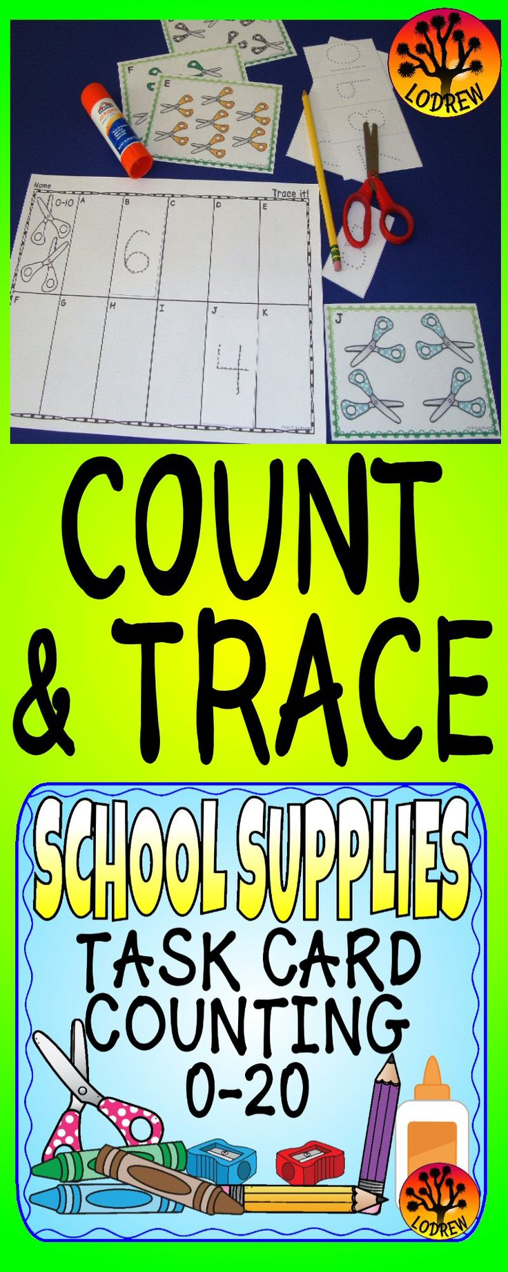 130 pages of school supply counting task cards and no prep recording sheets. Activities for back to school, fall, or anytime. Centers include subitizing, counting, numbers, cardinality, scissor skills, cut and paste, writing, tracing, dice, tally marks, task cards, number sets, fine motor, cut and glue, matching, math, and more. For kindergarten, preschool, SPED, child care, homeschool, or any early childhood setting.