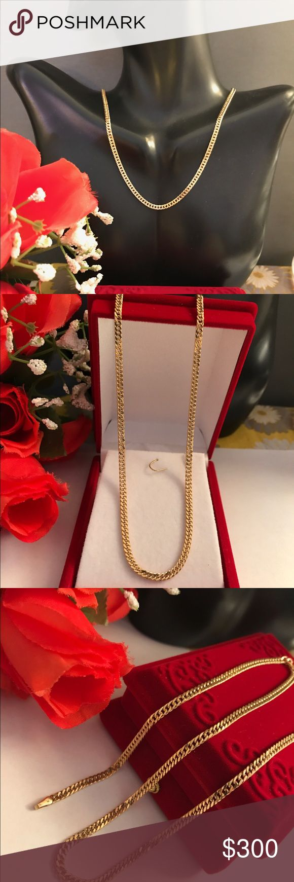 18k Real Saudi Gold chain Made of 100% 18K Real Gold.  * 750 Stamped *3.8 grams *16 inches long  #RealGold * Not Plated! * Not filled!  * If you have any questions please do not hesitate to ask before buying to avoid return.  * If you have doubt please don't buy! * all Jewelries are 100% Tested! stamped Other