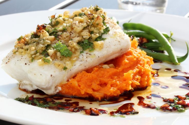 Cod with pine nuts, sweet potato mousse and soy sauce butter