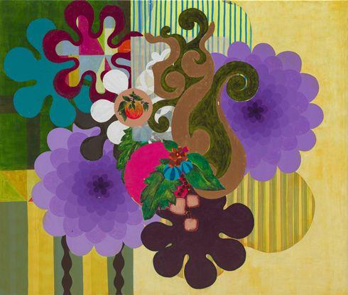 Carioca Landscape (Paisagem Carioca), 2000. Acrylic on canvas, 67 × 79 inches (170.2 × 200.7 cm). Solomon R. Guggenheim Museum, New York, Gift, The Bohen Foundation, 2001, 2001.224. © Beatriz Milhazes  More works by Beatriz Milhazes