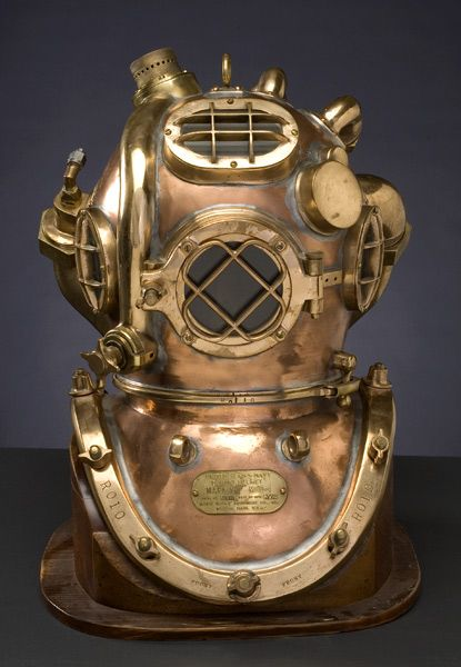 hard hat divers | Rare US Navy Twelve-Bolt Hard Hat Diving Helmet with Helium Tank by ...