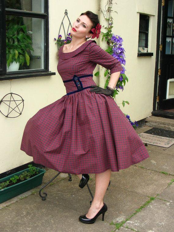 1950s Mad Men/Pin up dress custom made by NinasWerke on Etsy, $119.9550 Style, Plaid Dresses, Vintage Dresses, More Dress Sizes, 1950S Mad, Plus Size Vintage, Men Pin, Mad Men, 1950S Vintage