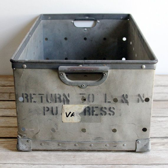 Awesome industrial bin with lettering...