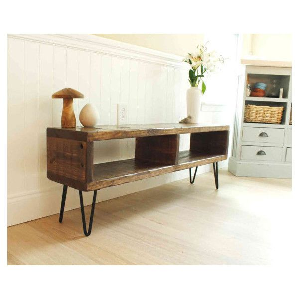 TV entertainment center, TV console, reclaimed wood entertainment... ($175) ❤ liked on Polyvore featuring home, furniture, storage & shelves, entertainment units, wood media console, wood media cabinet, wooden tv console, reclaimed wood tv console ve metal media cabinet
