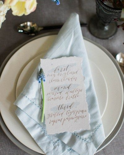 Watercolor Wash Gold Calligraphy Wedding Menu Deckled Edges   Wedding Inspiration: Cape Cod   Cherry Hill Club Styled Shoot in Niagara   Calligraphy by Bon Paper House