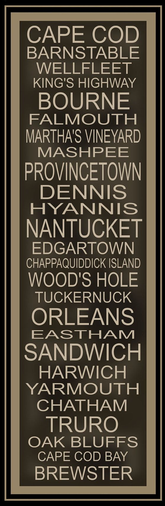 Subway Art Sign Cape Cod Destination Typography Print by PaperBleu, $41.00