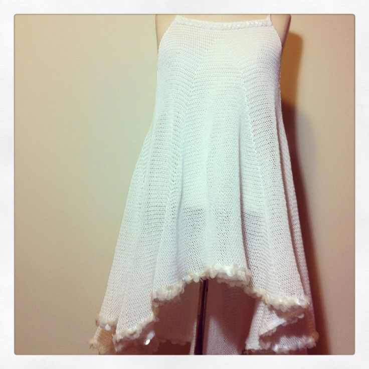 Knitted dress in cotton with sequin trim by Tanja Kozub knitwear