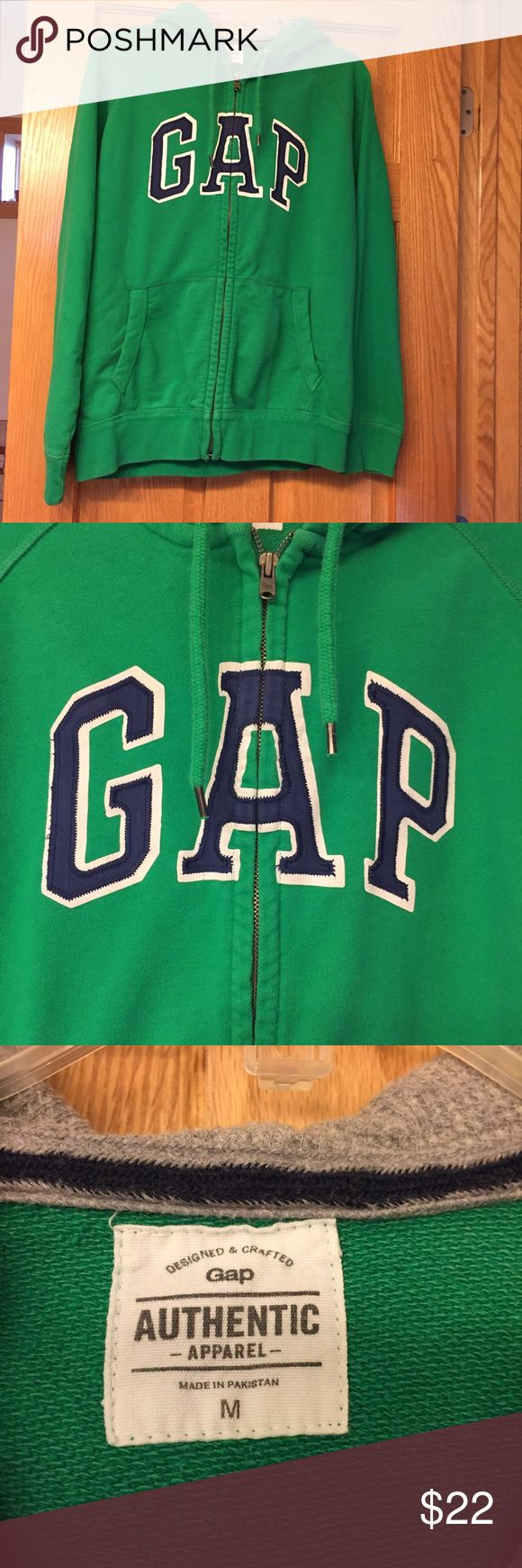GAP Kelly Green Zip-Up Hoodie Men's M/Women's L GAP Kelly Green Zip-Up Hoodie Men's M/Fits like Women's L.  EUC.  Worn maybe once.  Gorgeous color, have downsized and wish this fit! GAP Tops Sweatshirts & Hoodies