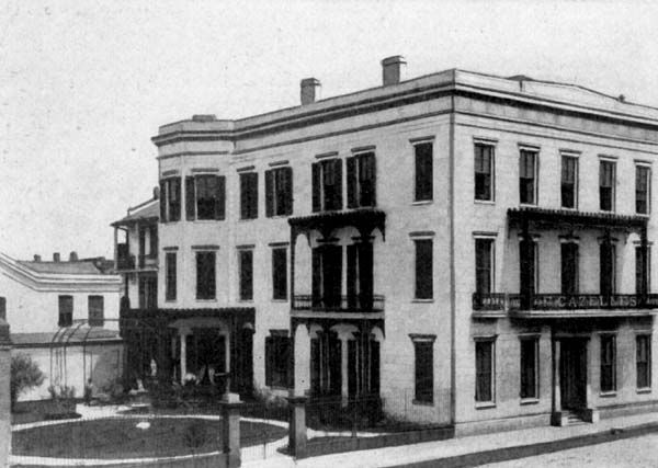 """153 South Rampart Street. The Fashionable Establishment of the City. [This was a French dress making business owned by Francois Cazelle. Not too many years earlier the structure was PROBABLY used as a brothel (until the Storyville ordinance put the location outside of the """"legal"""" district). The building has been demolished and the site is now occupied by the California Building.]"""