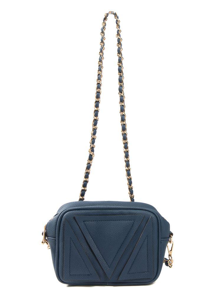 Leather chain strap blue shoulder bag .