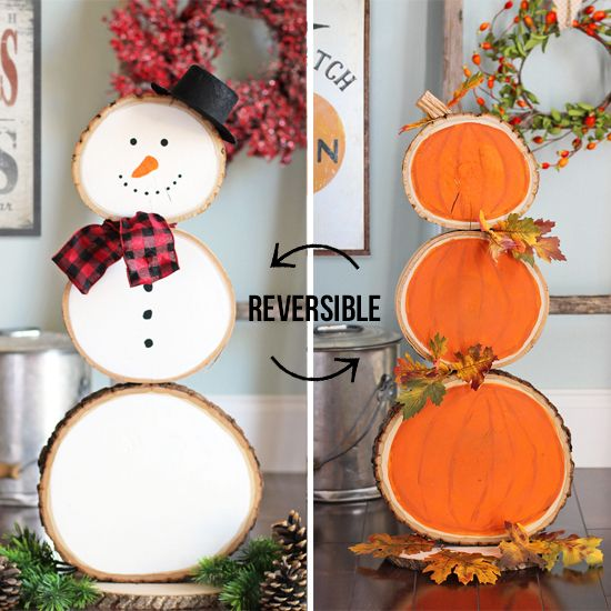Wood Slice Pumpkins and Snowman