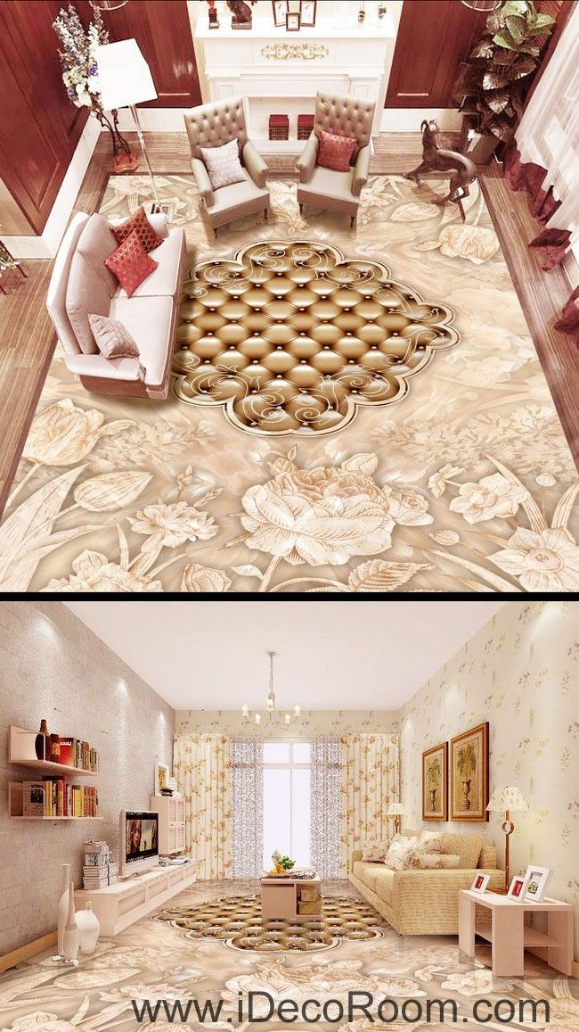 Flower dot carpet shape 00054 floor decals 3d wallpaper wall mural stickers print art bathroom decor